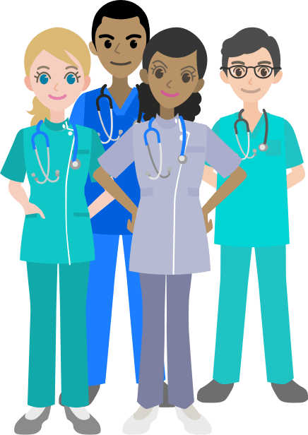 Three nurses standing